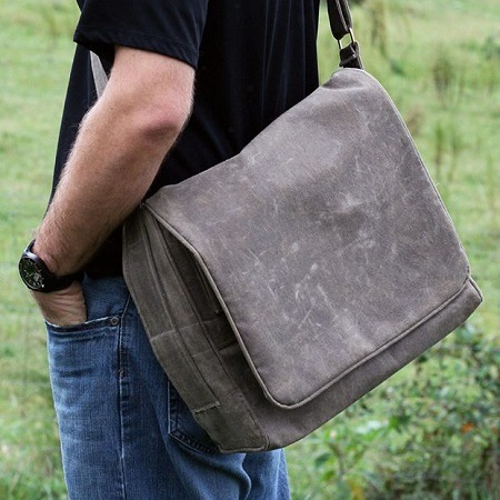 Holding Canvas Messenger Bag